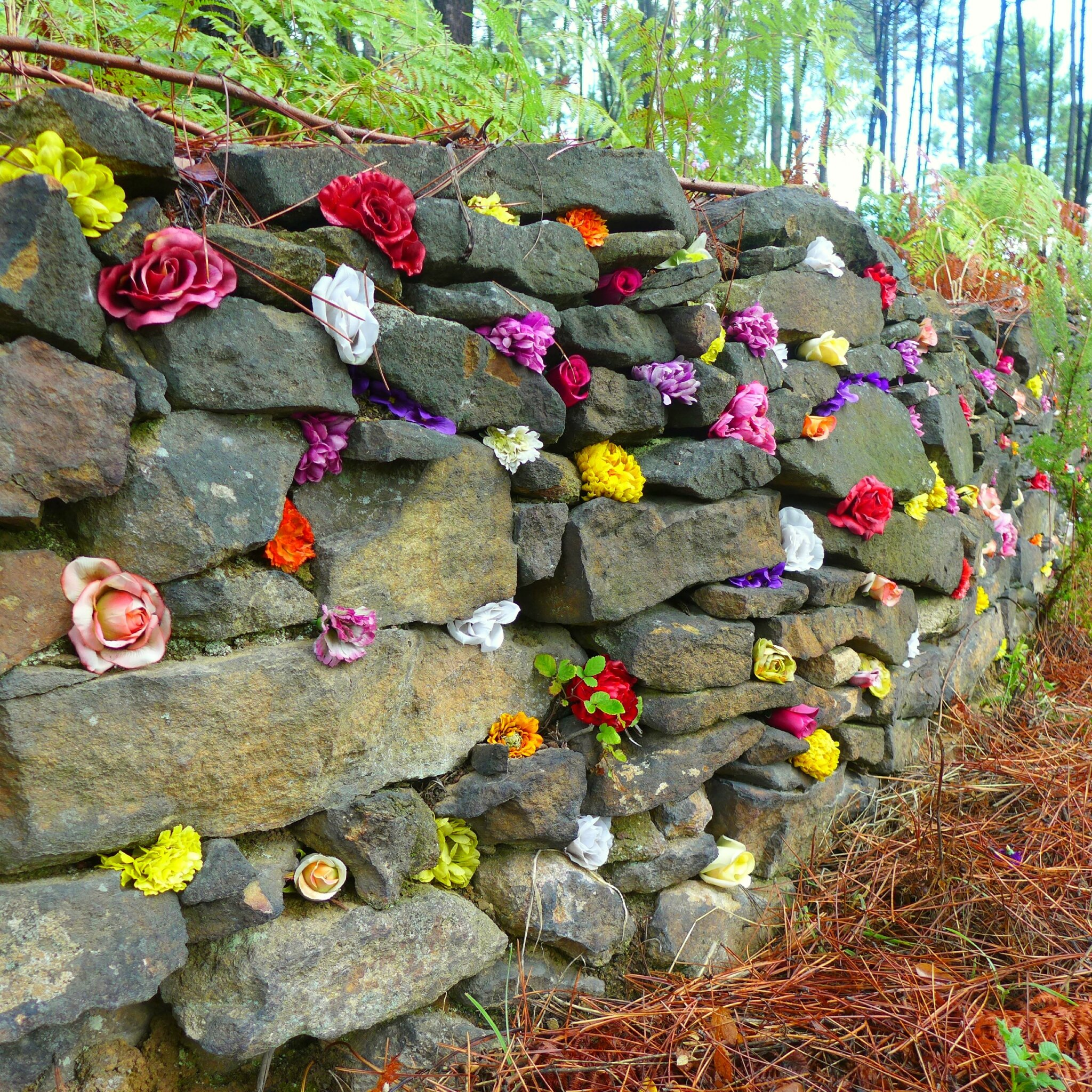 incrustations de fleurs dans la restanque yurtao