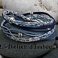 Je ne sais pas chez vous, mais ici le ciel bleu est revenu, comme dans ce <b>bracelet</b> <b>multimatières</b> double tour en liberty fleurs