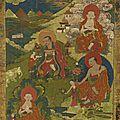 Quatre Arhat, Tibet, ca <b>18</b>° <b>siècle</b>