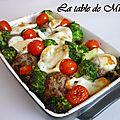 Tian de legumes aux boulettes de boeuf et mozzarella