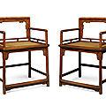 A pair of<b>huanghuali</b>lowback armchairs,meiguiyi, Kangxi period (1662-1722)