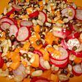 Salade de lentilles, blé, carottes et radis