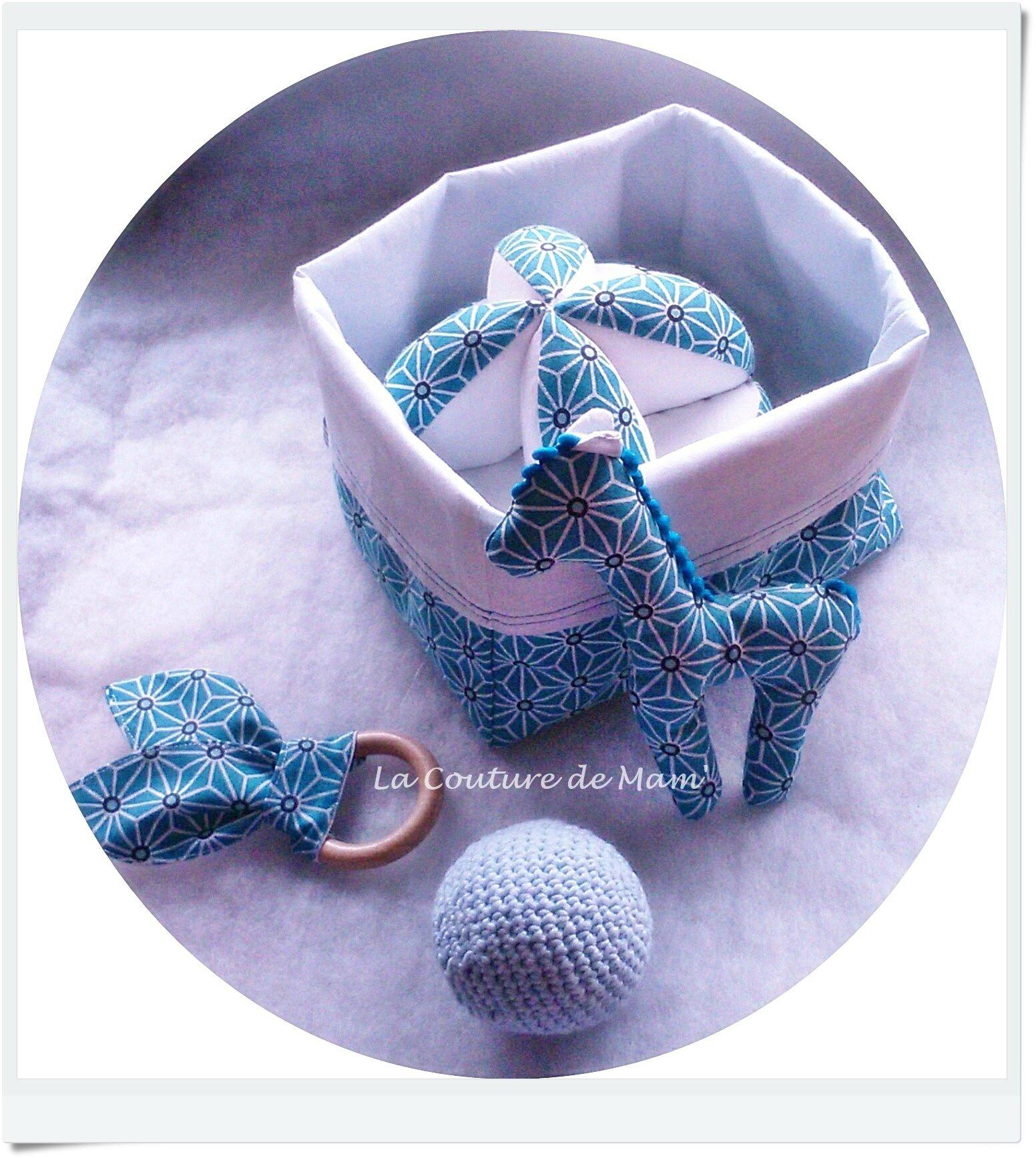 Box cadeau de naissance Asanoha bleu