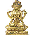 A rare gilt-copper alloy figure of Sadaksari <b>Avalokitesvara</b>, Tibet, circa 16th century
