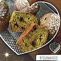 Muffins au thé vert matcha et pépites de chocolat ( 65 cal/ par muffin)