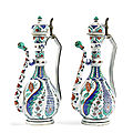 A pair of Iznik <b>style</b> Porcelain Ewers, possibly by Samson, France, 19th Century