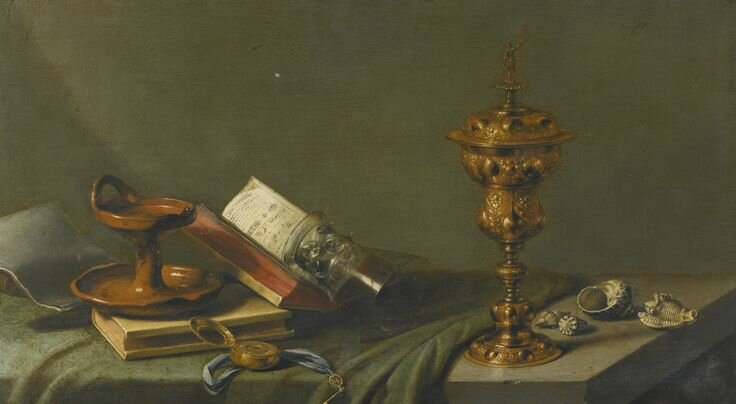 Pieter Claesz Still Life With An Oil Lamp A Pocket