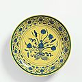 A rare large blue and yellow 'lotus bouquet' dish, mark and period of yongzheng (1723-1735)