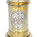 A Baroque vermeil <b>tankard</b> with engraved coat of arms, Hamburg, middle of 17th century. Maker's mark of Heinrich Ohmsen