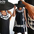 Robe trapèze Chasuble Asymétrique Noire & Blanche crème à Imprimé Pied de Poule Géant Graphique