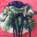 Bourse toile de jute à fleur à compartiments. doulure coton bleu/noir