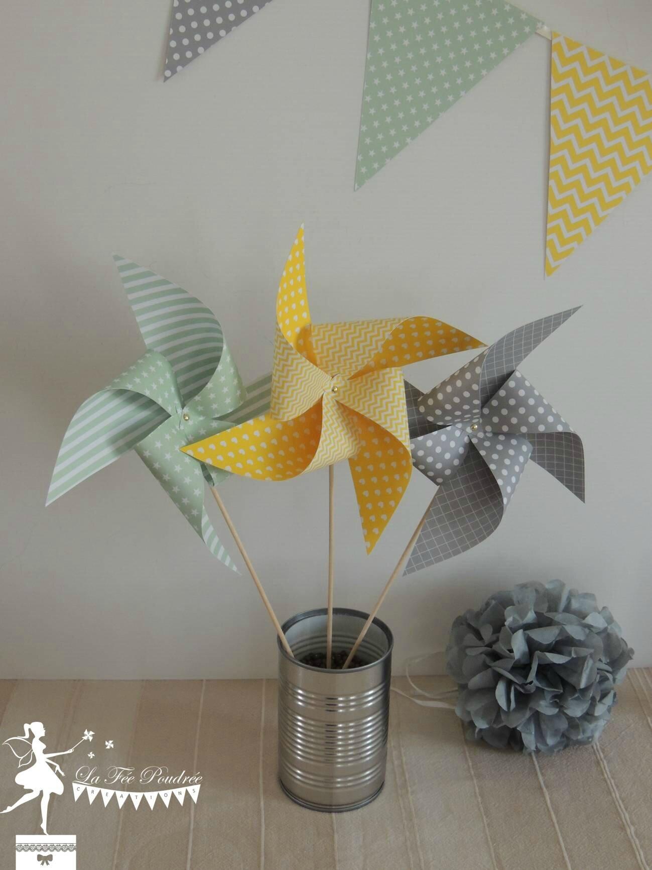 decoration mariage bapteme baby shower anniversaire pompon guirlande fanions moulin4