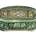 A rare and large sancai-glazed pottery <b>pillow</b>, Jin dynasty