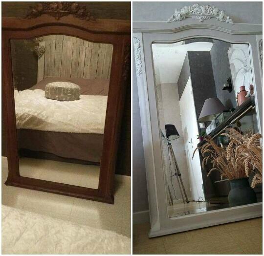 Miroir ancien patiné crème taupe