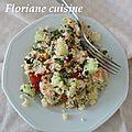 Salade fraîcheur (semoule, concombre et menthe)