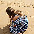 Pois bleus pour été à la mer