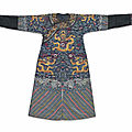 An embroidered blue <b>gauze</b> summer dragon robe,jifu, 19th century