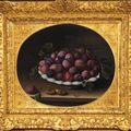Louise moillon (paris 1610-1696), nature morte à la coupe de prunes sur un entablement. vers 1634.