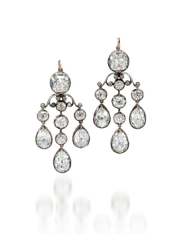 Girandole diamond earrings - Royal Jewels from the Bourbon Parma Family - Sotheby's November 2018