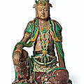 A large glazed tileworks figure of seated Guanyin, Ming-early Qing dynasty, <b>16th</b>-<b>17th</b> <b>century</b>