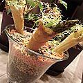 Carquois de cupidon en cornets fourés épicés et sa flèche d'asperge verte croquante pour la saint valentin !