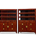 A rare and large pair of <b>huanghuali</b> square-corner display cabinets, wanligui, 17th century