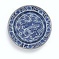 A rare blue and white 'Phoenix' basin, Mark and period of Kangxi