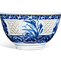 A blue and white reticulated 'flower' bowl, late <b>Ming</b> dynasty, circa 1640