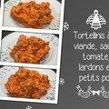 Tortellinis à la viande, sauce tomate, lardons et petits pois