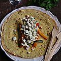 Crêpes à la farine de millet, légumes au miel et féta