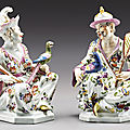 A pair <b>of</b> Meissen seated chinoiserie figures, circa 1740