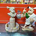 Pixi asterix : aplusbegalix devant son monument, 99€, grossbaf sur son trône, 120€, obelix faisant l'équilibre, 75€