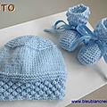 tuto pdf, tricot bb, bonnet et chaussons bleus, explications