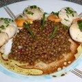 Salade tiède de lentillons de champagne et saint-jacques