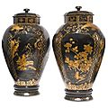 An important and rare pair of Japanese export black and gilt lacquer <b>covered</b> <b>jars</b>. Circa 1680-1700
