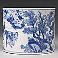 A blue and white brushpot (bitong), Qing dynasty, Kangxi period3