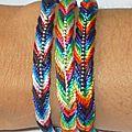 Bracelet en coton tissé multicolore brillant