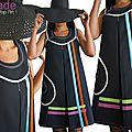 Robe trapèze Créateur graphique Girly Fantaisie et Originale Noire à jeux de Rubans multicolores au look Sixties Hiver 2015