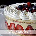 Le fraisier : crème <b>mousseline</b> et chantilly très vanillée