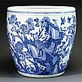 A large blue and white fish bowl, qing dynasty, kangxi period (1662-1722)