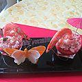 Verrine de gelée de tomates et crevettes marinées