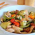 Salade d'haricots verts, pommes de terre, <b>tomates</b> <b>cerises</b> et jambon de poulet