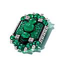 An Art Deco emerald, <b>diamond</b> <b>and</b> <b>enamel</b> <b>brooch</b>, Cartier