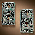 A pair of small bronze openwork plaques, Northern Hebei province, 6th-<b>5th</b> <b>century</b> <b>BC</b>