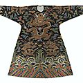 A rare Imperial brocaded <b>black</b>-<b>ground</b> semi-formal Dragon' robe, jifu, Qing dynasty, Kangxi period