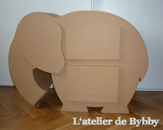 meuble en carton elephant l 39 atelier de bybby. Black Bedroom Furniture Sets. Home Design Ideas
