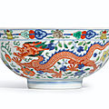 A fine wucai 'Dragon and <b>Phoenix</b>' bowl, Seal mark and period of Daoguang (1821-1850)