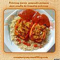 Poivrons farci à la semoule et poisson, et son coulis tomates/poivrons