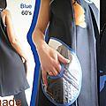 Robe Chasuble Noire/bleu électrique graphique Blue 60's