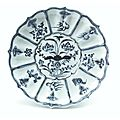 Blue and white lotus-petal dish with a lotus pond and Buddhist emblems, Yuan dynasty, Shanghai Museum